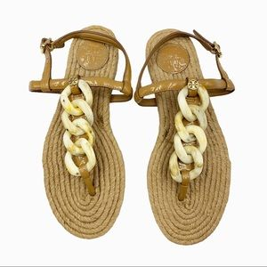 Tory Burch Chain T-Strap Leather & Jute Espadrille